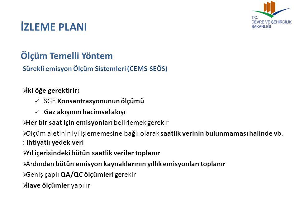 Sürekli emisyon Ölçüm Sistemleri (CEMS-SEÖS)  İki öğe gerektirir: SGE Konsantrasyonunun ölçümü Gaz akışının hacimsel akışı  Her bir saat için emisyo