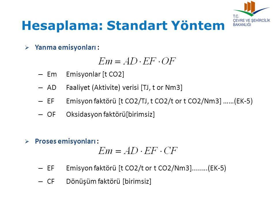  Yanma emisyonları : – EmEmisyonlar [t CO2] – ADFaaliyet (Aktivite) verisi [TJ, t or Nm3] – EFEmisyon faktörü [t CO2/TJ, t CO2/t or t CO2/Nm3] ……(EK-
