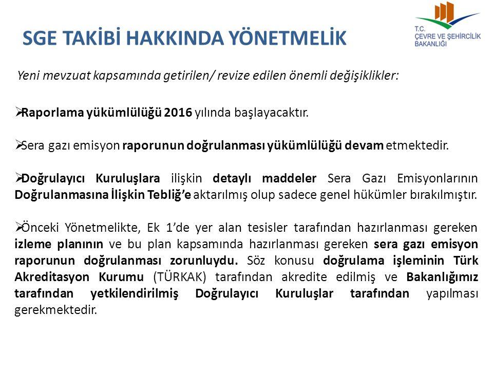  Yeni düzenleme ile işletmeler SGE Raporlarını Bakanlığa göndermeden önce, 2015-2016 yıllarında Bakanlık tarafından yetkilendirilmiş olan ve 1/1/2017 tarihinden itibaren TÜRKAK tarafından akredite edilen Bağımsız Kuruluşlara doğrulatacaklardır.