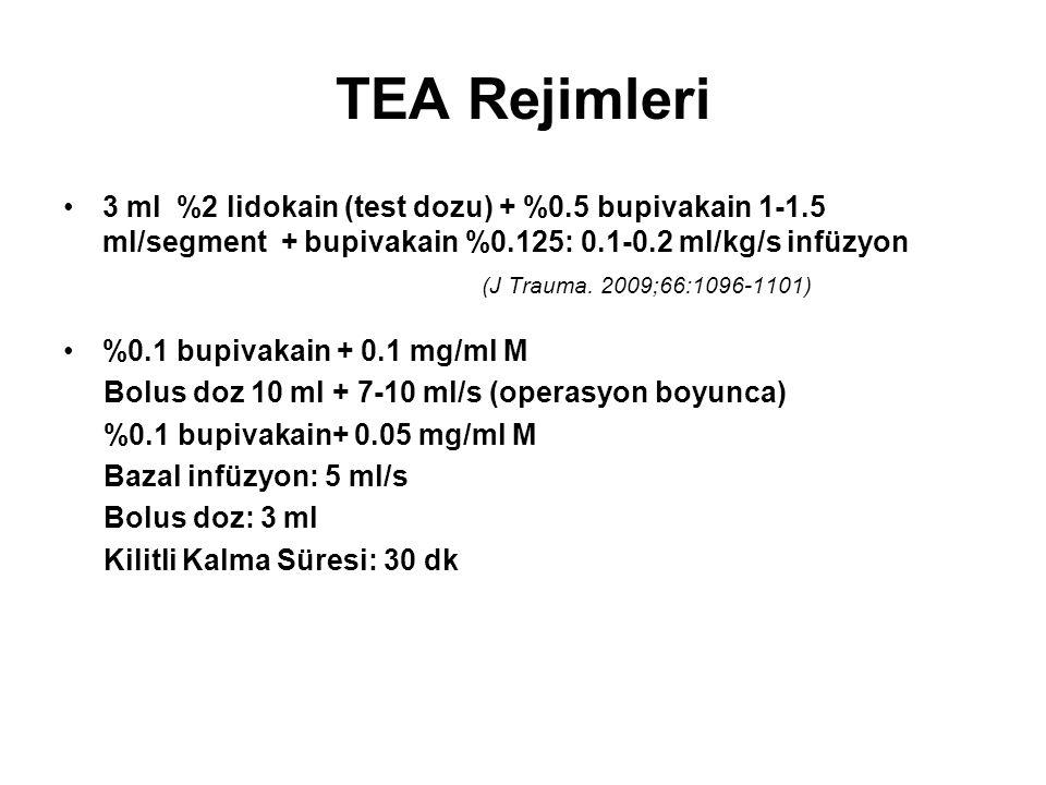 TEA Rejimleri 3 ml %2 lidokain (test dozu) + %0.5 bupivakain 1-1.5 ml/segment + bupivakain %0.125: 0.1-0.2 ml/kg/s infüzyon (J Trauma. 2009;66:1096-11