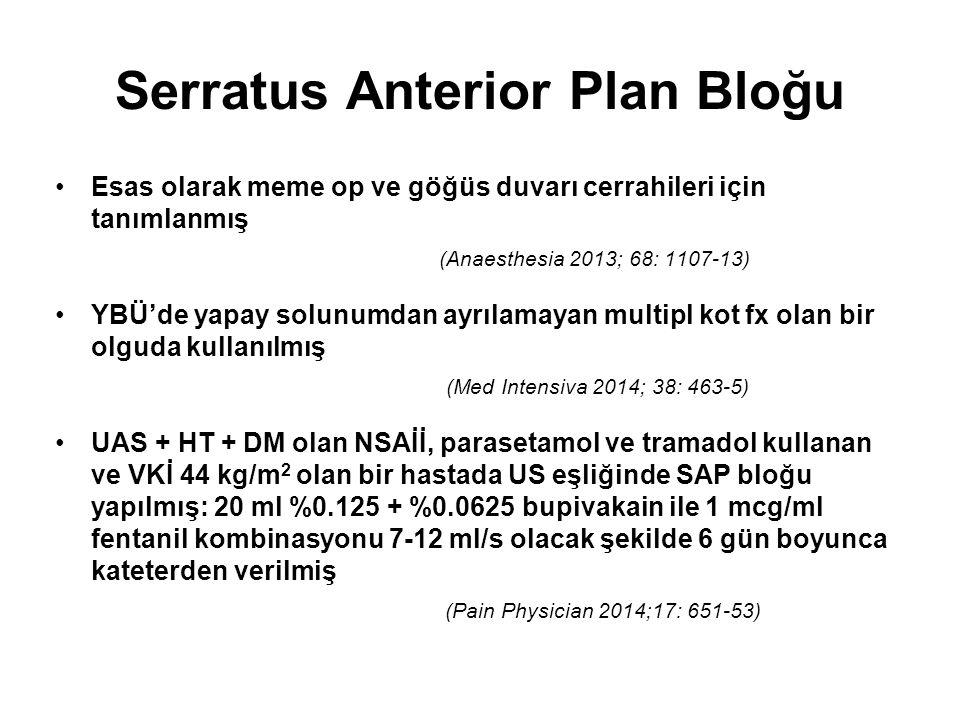 Serratus Anterior Plan Bloğu Esas olarak meme op ve göğüs duvarı cerrahileri için tanımlanmış (Anaesthesia 2013; 68: 1107-13) YBÜ'de yapay solunumdan