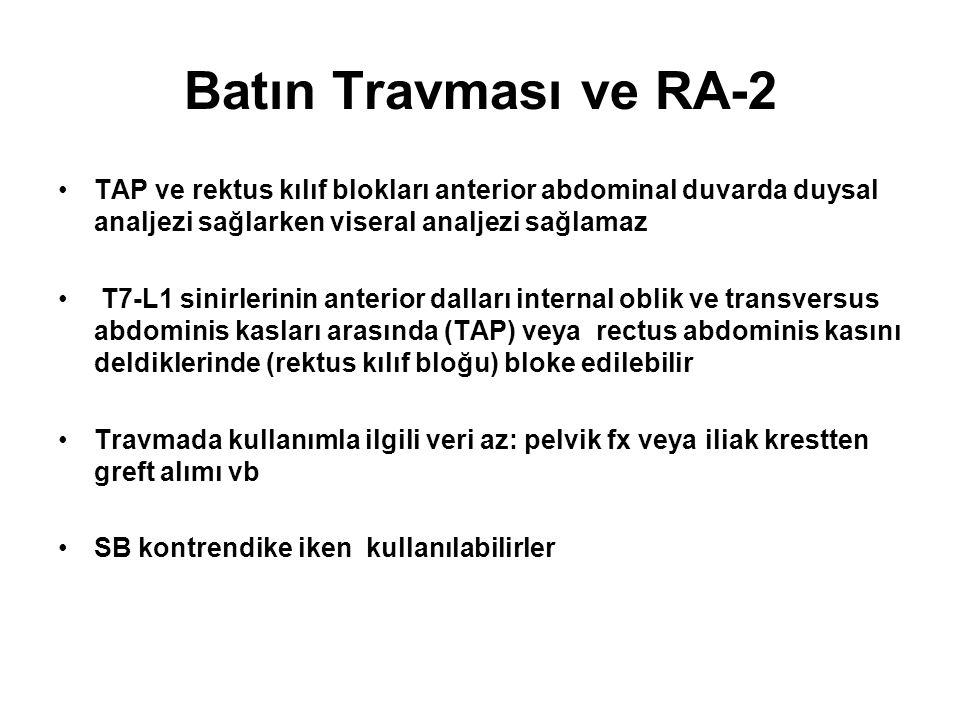 Batın Travması ve RA-2 TAP ve rektus kılıf blokları anterior abdominal duvarda duysal analjezi sağlarken viseral analjezi sağlamaz T7-L1 sinirlerinin