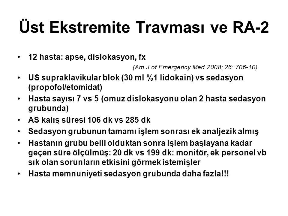 Üst Ekstremite Travması ve RA-2 12 hasta: apse, dislokasyon, fx (Am J of Emergency Med 2008; 26: 706-10) US supraklavikular blok (30 ml %1 lidokain) v