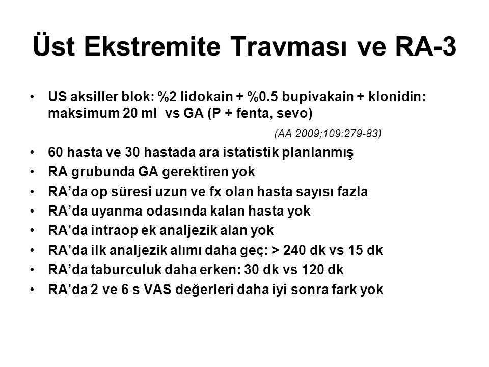 Üst Ekstremite Travması ve RA-3 US aksiller blok: %2 lidokain + %0.5 bupivakain + klonidin: maksimum 20 ml vs GA (P + fenta, sevo) (AA 2009;109:279-83