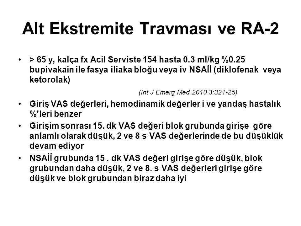 Alt Ekstremite Travması ve RA-2 > 65 y, kalça fx Acil Serviste 154 hasta 0.3 ml/kg %0.25 bupivakain ile fasya iliaka bloğu veya iv NSAİİ (diklofenak v