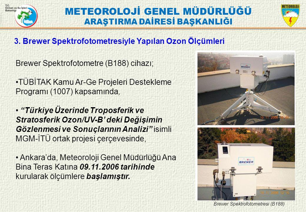 METEOROLOJİ GENEL MÜDÜRLÜĞÜ ARAŞTIRMA DAİRESİ BAŞKANLIĞI 3. Brewer Spektrofotometresiyle Yapılan Ozon Ölçümleri Brewer Spektrofotometre (B188) cihazı;