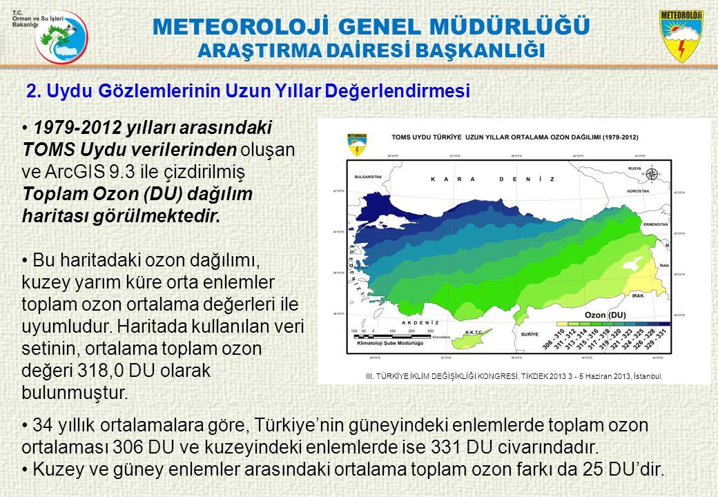 METEOROLOJİ GENEL MÜDÜRLÜĞÜ ARAŞTIRMA DAİRESİ BAŞKANLIĞI 2. Uydu Gözlemlerinin Uzun Yıllar Değerlendirmesi 1979-2012 yılları arasındaki TOMS Uydu veri