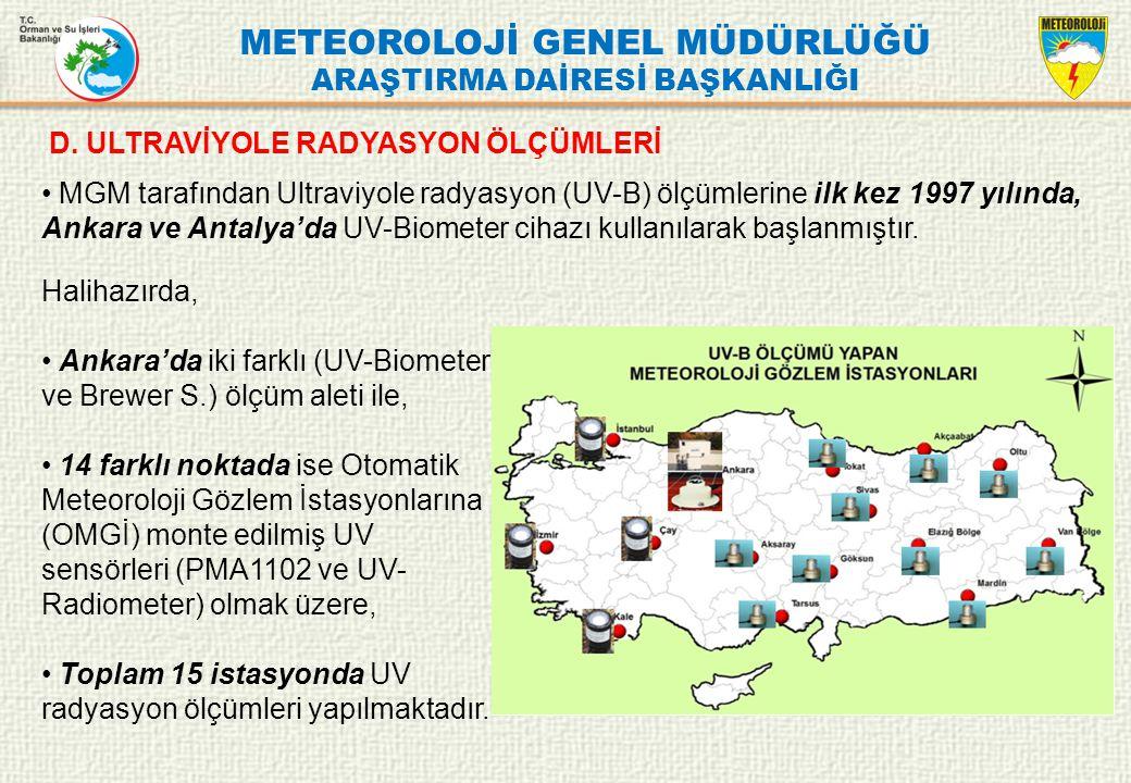 METEOROLOJİ GENEL MÜDÜRLÜĞÜ ARAŞTIRMA DAİRESİ BAŞKANLIĞI Halihazırda, Ankara'da iki farklı (UV-Biometer ve Brewer S.) ölçüm aleti ile, 14 farklı nokta