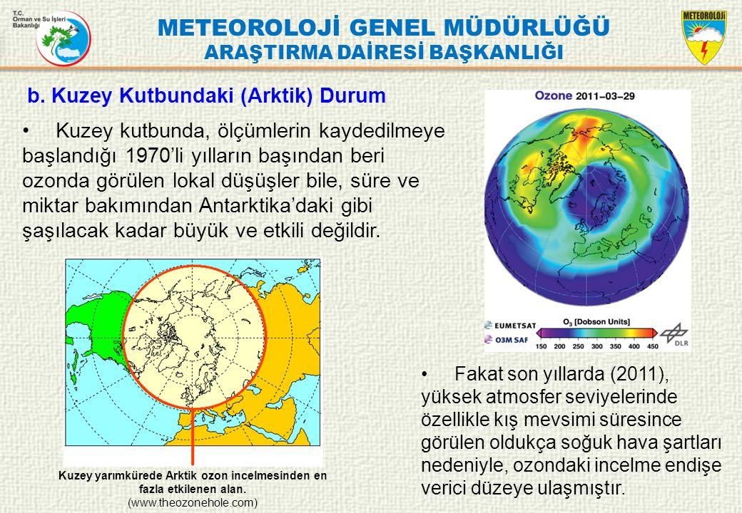 METEOROLOJİ GENEL MÜDÜRLÜĞÜ ARAŞTIRMA DAİRESİ BAŞKANLIĞI Kuzey kutbunda, ölçümlerin kaydedilmeye başlandığı 1970'li yılların başından beri ozonda görü