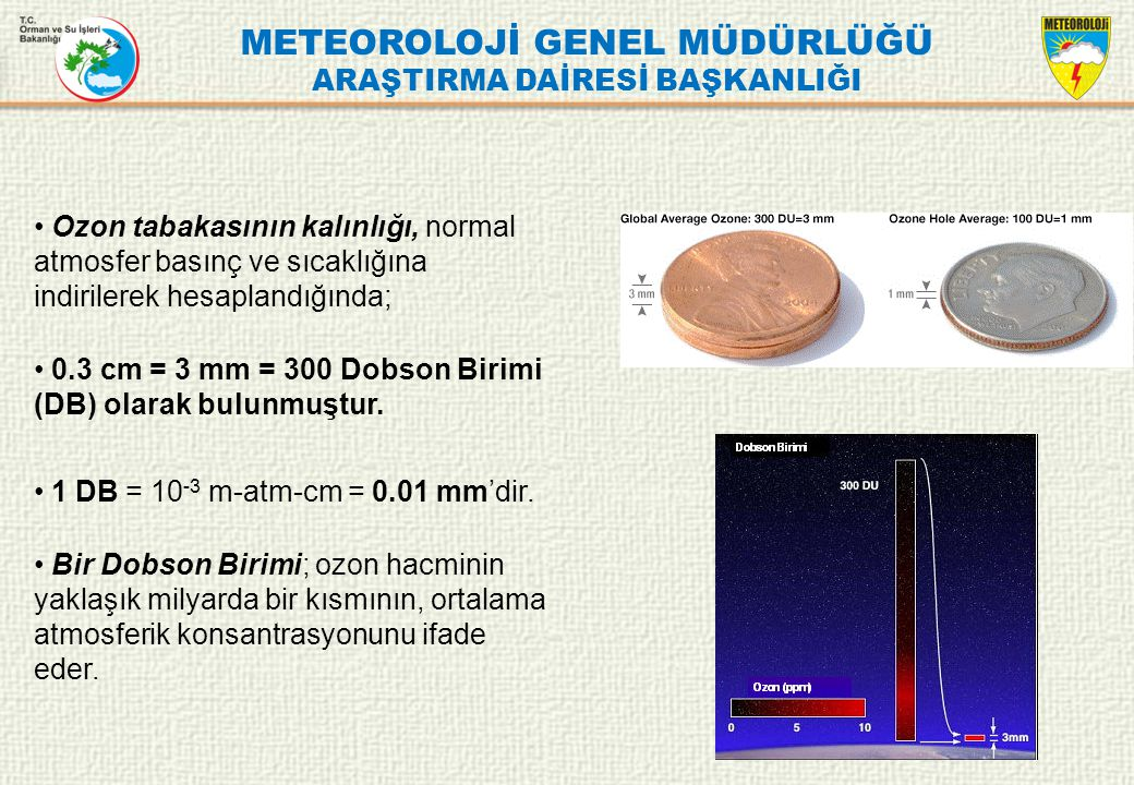 METEOROLOJİ GENEL MÜDÜRLÜĞÜ ARAŞTIRMA DAİRESİ BAŞKANLIĞI Ankara'nın uzun yıllar mevsimlik toplam ozon değerlerine bakıldığında; En yüksek değere 346 DU ile İlkbahar mevsiminde, En düşük değere ise 286 DU ile Sonbahar mevsiminde rastlanılmıştır.