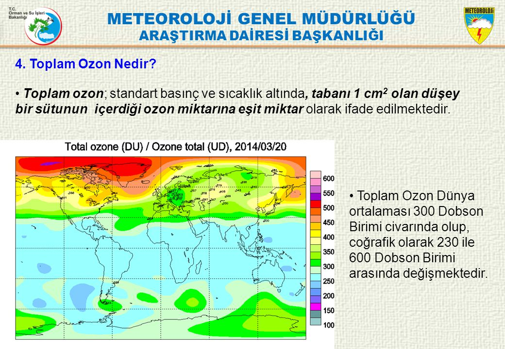 METEOROLOJİ GENEL MÜDÜRLÜĞÜ ARAŞTIRMA DAİRESİ BAŞKANLIĞI 4. Toplam Ozon Nedir? Toplam ozon; standart basınç ve sıcaklık altında, tabanı 1 cm 2 olan dü
