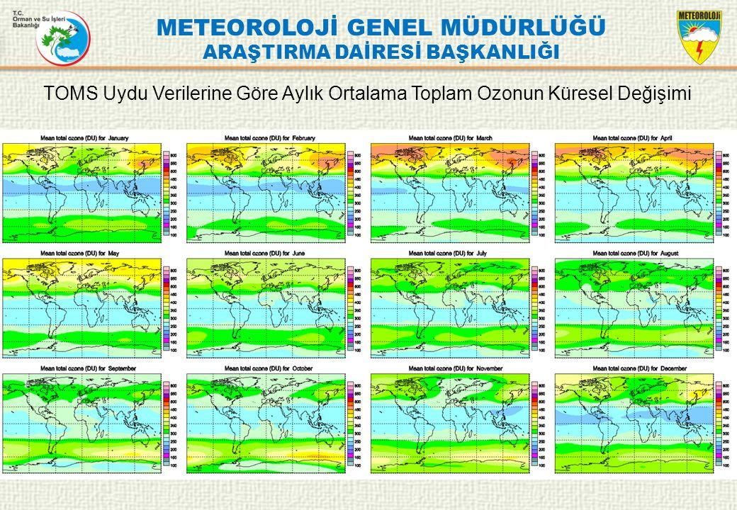 METEOROLOJİ GENEL MÜDÜRLÜĞÜ ARAŞTIRMA DAİRESİ BAŞKANLIĞI TOMS Uydu Verilerine Göre Aylık Ortalama Toplam Ozonun Küresel Değişimi