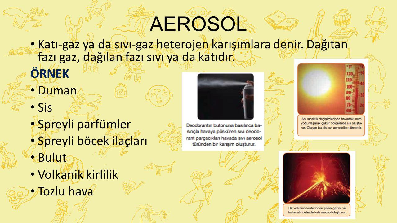AEROSOL Katı-gaz ya da sıvı-gaz heterojen karışımlara denir. Dağıtan fazı gaz, dağılan fazı sıvı ya da katıdır. ÖRNEK Duman Sis Spreyli parfümler Spre