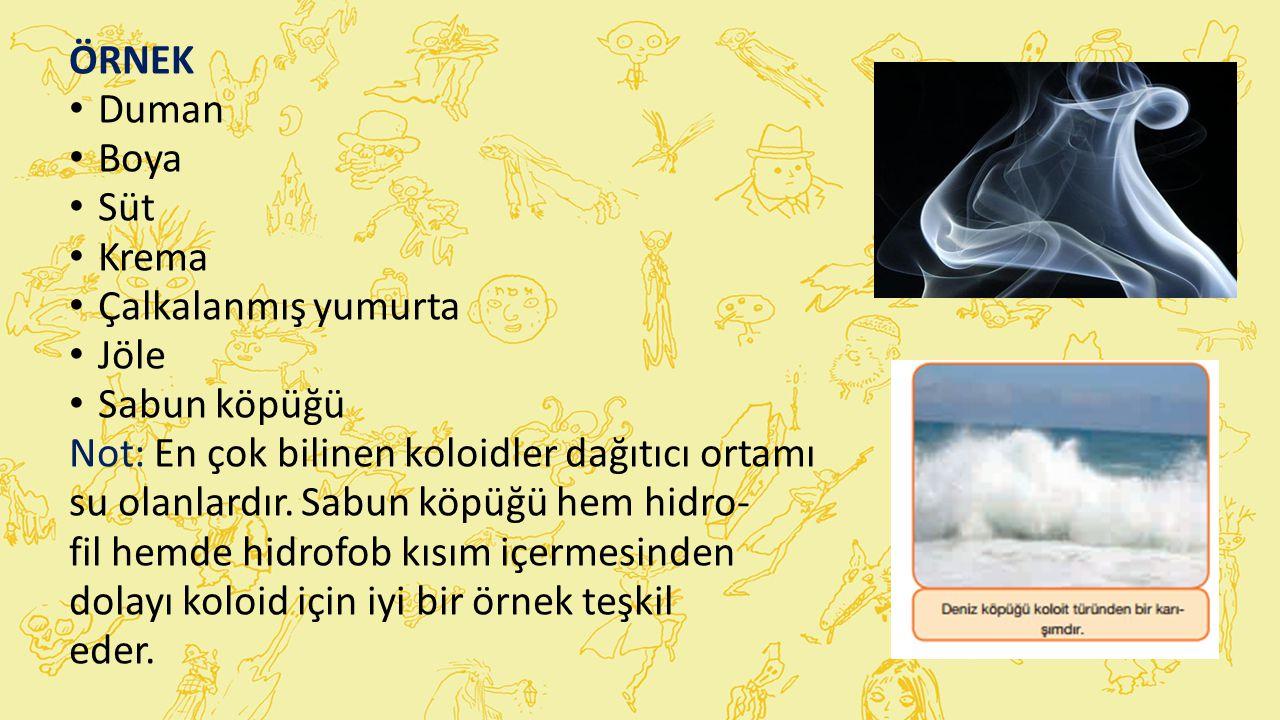 ÖRNEK Duman Boya Süt Krema Çalkalanmış yumurta Jöle Sabun köpüğü Not: En çok bilinen koloidler dağıtıcı ortamı su olanlardır.