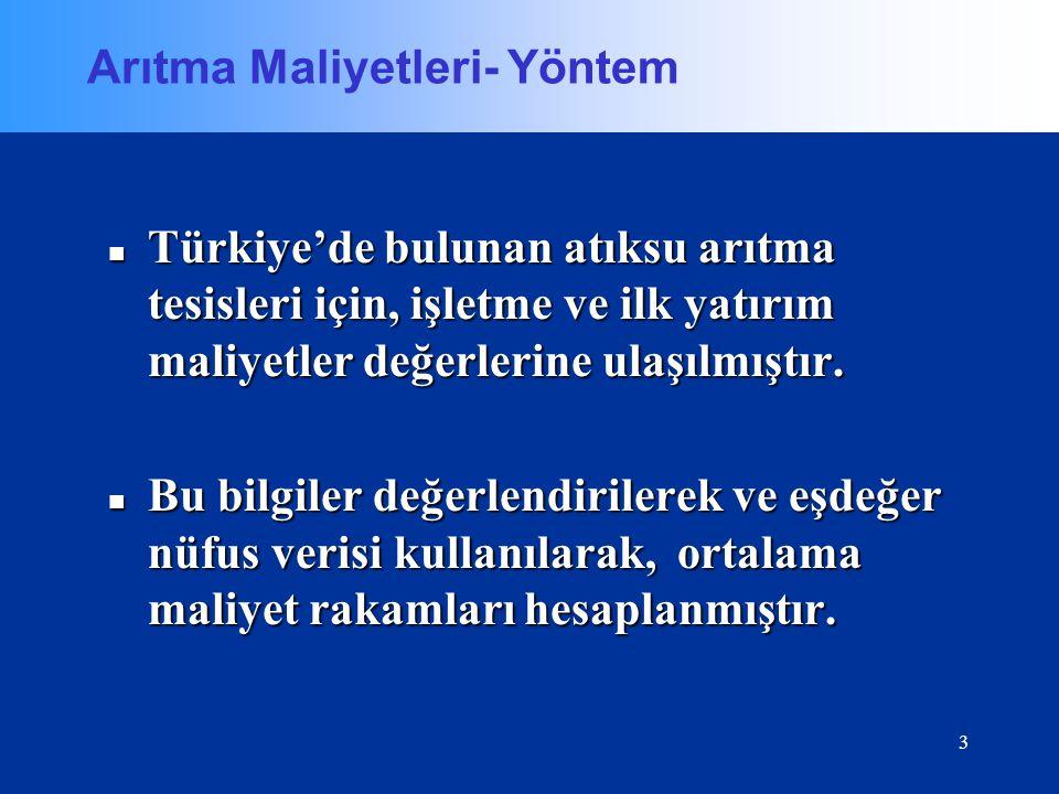 3 Arıtma Maliyetleri- Yöntem Türkiye'de bulunan atıksu arıtma tesisleri için, işletme ve ilk yatırım maliyetler değerlerine ulaşılmıştır. Türkiye'de b