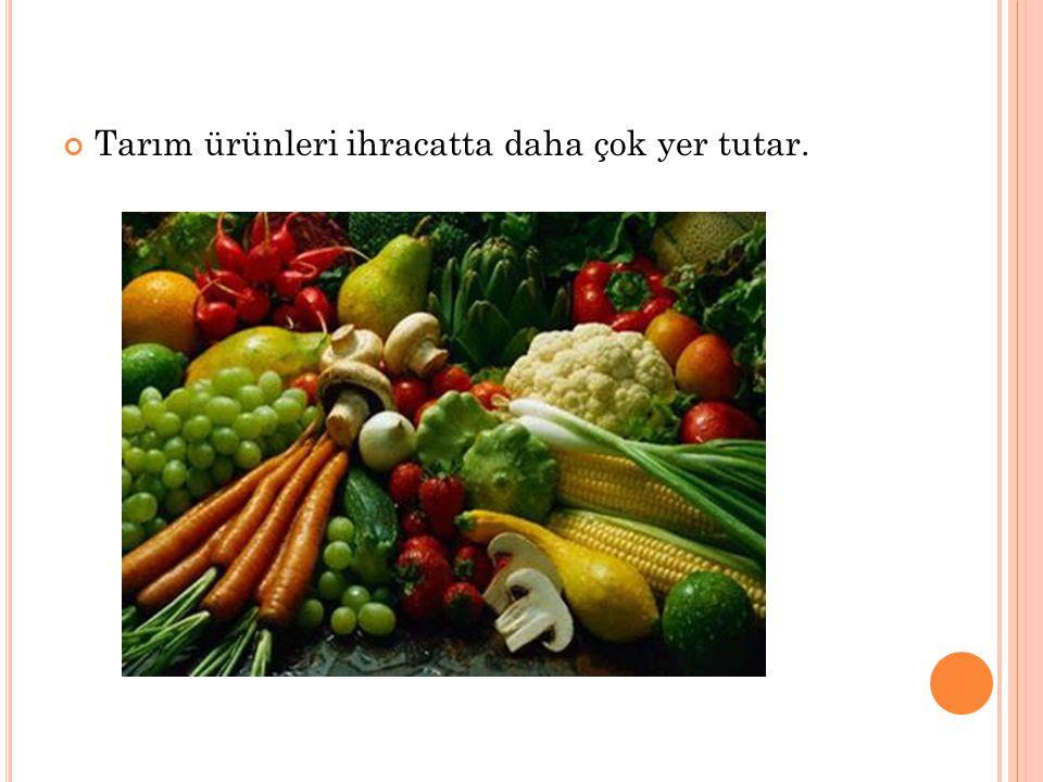 Tarım ürünleri ihracatta daha çok yer tutar.