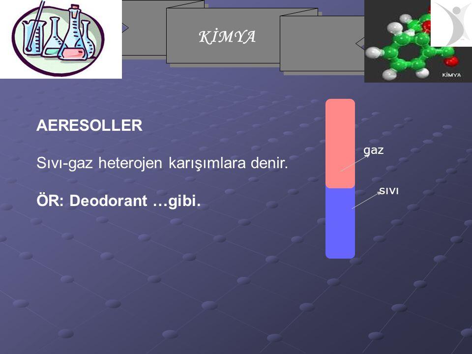 KİMYA AERESOLLER Sıvı-gaz heterojen karışımlara denir. ÖR: Deodorant …gibi. gaz sıvı