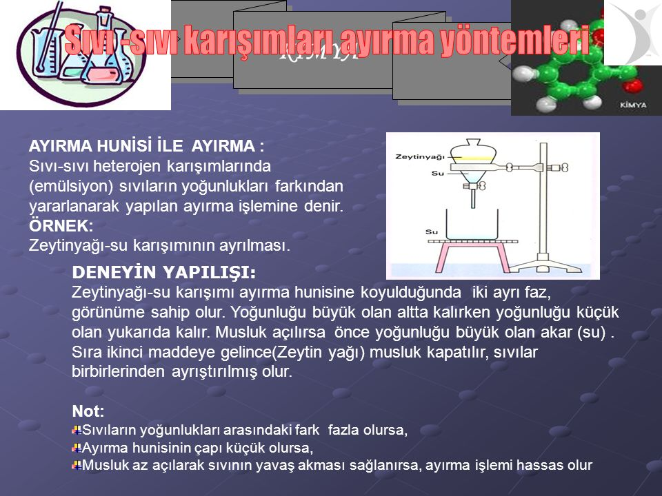 KİMYA AYIRMA HUNİSİ İLE AYIRMA : Sıvı-sıvı heterojen karışımlarında (emülsiyon) sıvıların yoğunlukları farkından yararlanarak yapılan ayırma işlemine