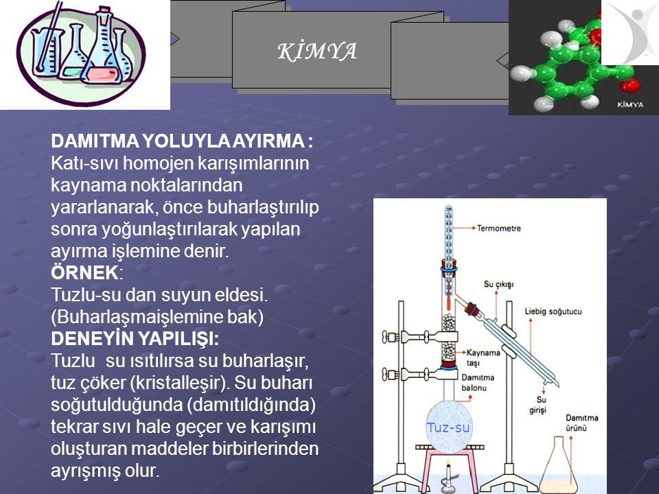 KİMYA DAMITMA YOLUYLA AYIRMA : Katı-sıvı homojen karışımlarının kaynama noktalarından yararlanarak, önce buharlaştırılıp sonra yoğunlaştırılarak yapıl