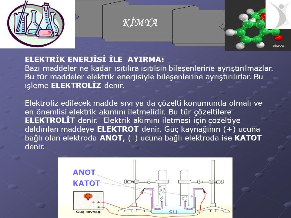 KİMYA ELEKTRİK ENERJİSİ İLE AYIRMA: Bazı maddeler ne kadar ısıtılıra ısıtılsın bileşenlerine ayrıştırılmazlar.