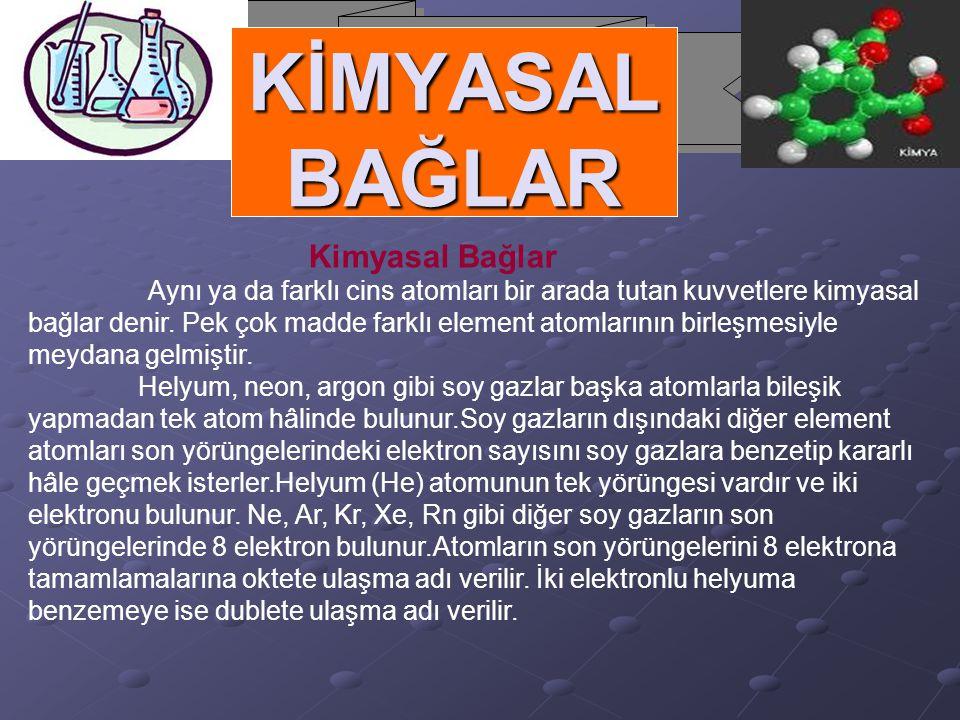 KİMYASAL BAĞLAR Kimyasal Bağlar Aynı ya da farklı cins atomları bir arada tutan kuvvetlere kimyasal bağlar denir. Pek çok madde farklı element atomlar