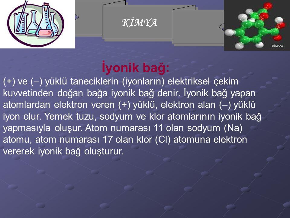KİMYA İyonik bağ: (+) ve (–) yüklü taneciklerin (iyonların) elektriksel çekim kuvvetinden doğan bağa iyonik bağ denir. İyonik bağ yapan atomlardan ele