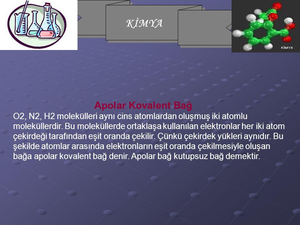 KİMYA Apolar Kovalent Bağ O2, N2, H2 molekülleri aynı cins atomlardan oluşmuş iki atomlu moleküllerdir.