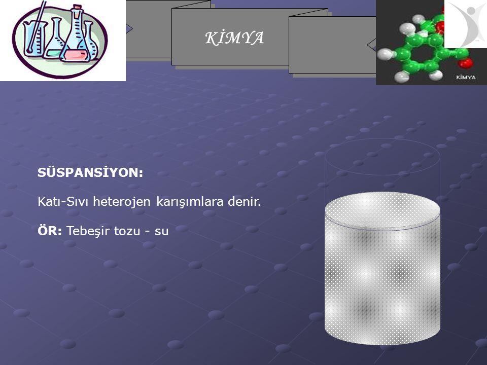 KİMYA SÜSPANSİYON: Katı-Sıvı heterojen karışımlara denir. ÖR: Tebeşir tozu - su