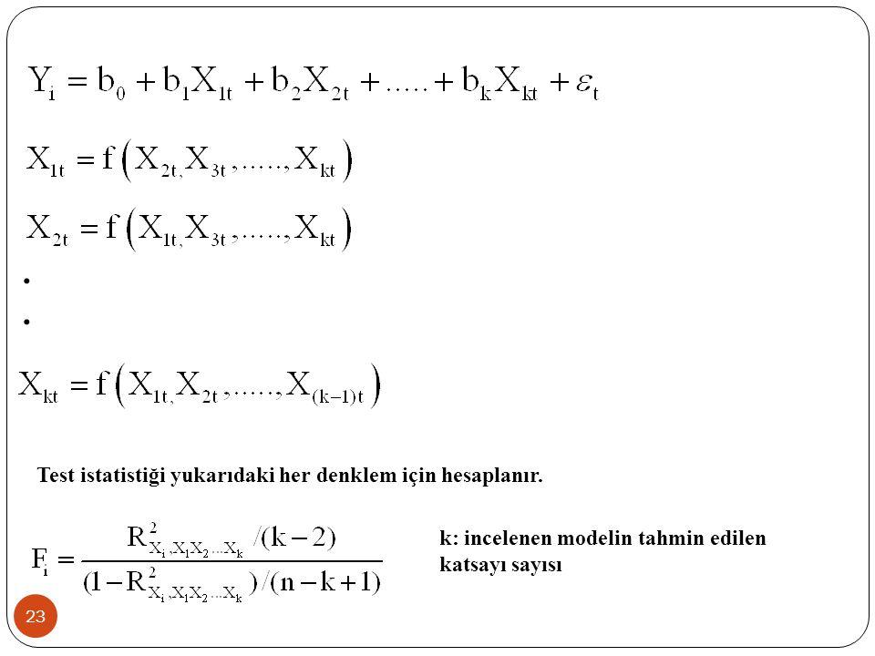 22 2.Yardımcı Regresyon Modelleri için F testi  Bu yöntemde varyans büyütme faktöründe hesapladığımız belirlilik katsayılarından hesaplanır.