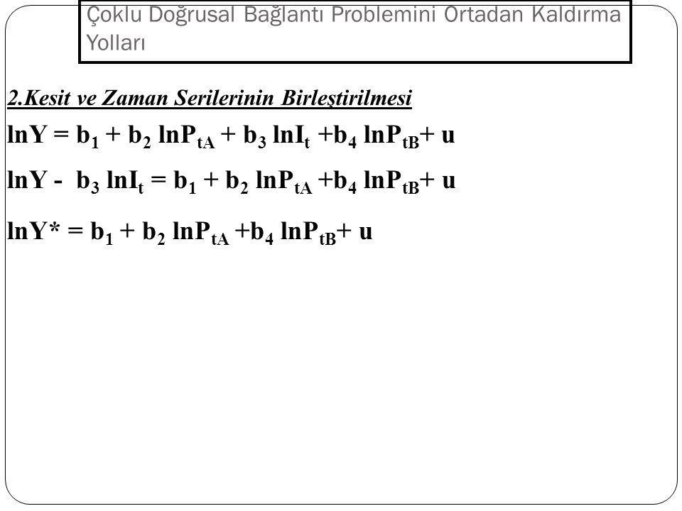 Çoklu Doğrusal Bağlantı Problemini Ortadan Kaldırma Yolları 1.Ön Bilgi Yöntemi Y = b 1 + b 2 X 2 + b 3 X 3 +b 4 X 4 + ub 3 = 0.2b 2 Y = b 1 + b 2 X 2 + 0.2b 2 X 3 +b 4 X 4 + u Y = b 1 + b 2 (X 2 + 0.2 X 3 )+b 4 X 4 + u Y = b 1 + b 2 X*+ b 4 X 4 + u