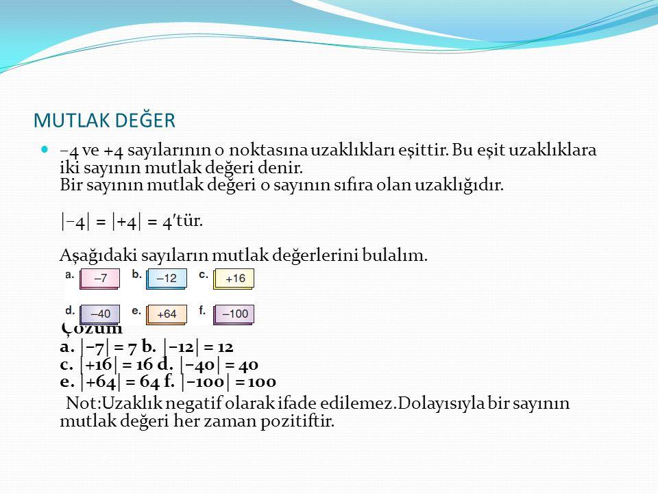 MUTLAK DEĞER –4 ve +4 sayılarının 0 noktasına uzaklıkları eşittir.