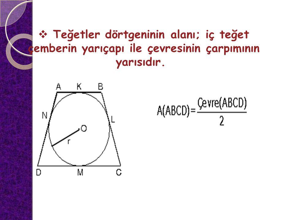  Teğetler dörtgeninin alanı; iç teğet çemberin yarıçapı ile çevresinin çarpımının yarısıdır.