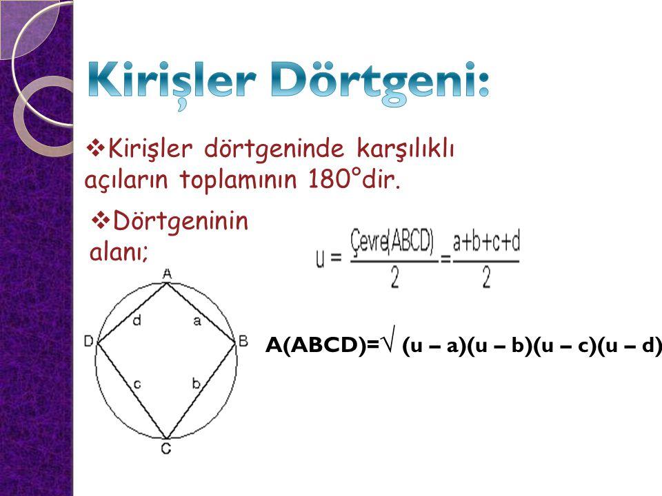  Kirişler dörtgeninde karşılıklı açıların toplamının 180°dir.  Dörtgeninin alanı; A(ABCD)= √ (u – a)(u – b)(u – c)(u – d)