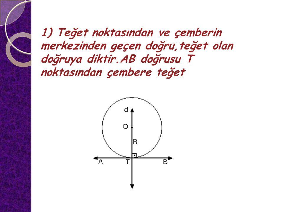 1) Teğet noktasından ve çemberin merkezinden geçen doğru,teğet olan doğruya diktir.AB doğrusu T noktasından çembere teğet TEĞET – KİRİŞ ÖZELLİKLERİ