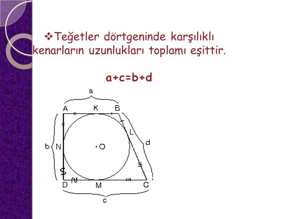  Teğetler dörtgeninde karşılıklı kenarların uzunlukları toplamı eşittir. a+c=b+d