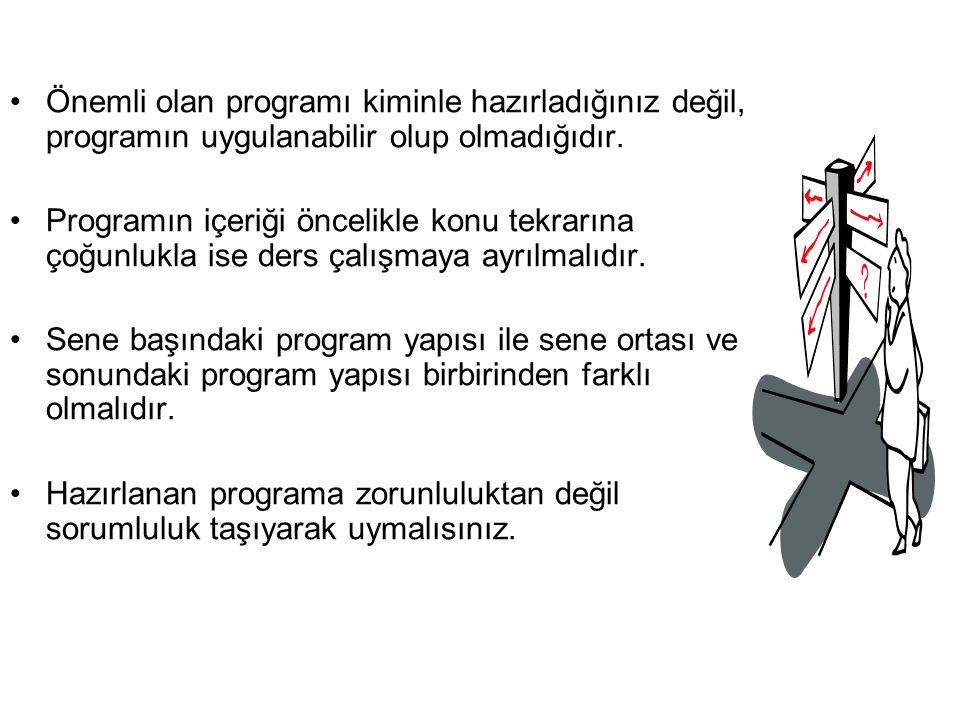 İdeal program, uygulanabilen programdır.Ağır değil, esnek bir yapıda olmalıdır.