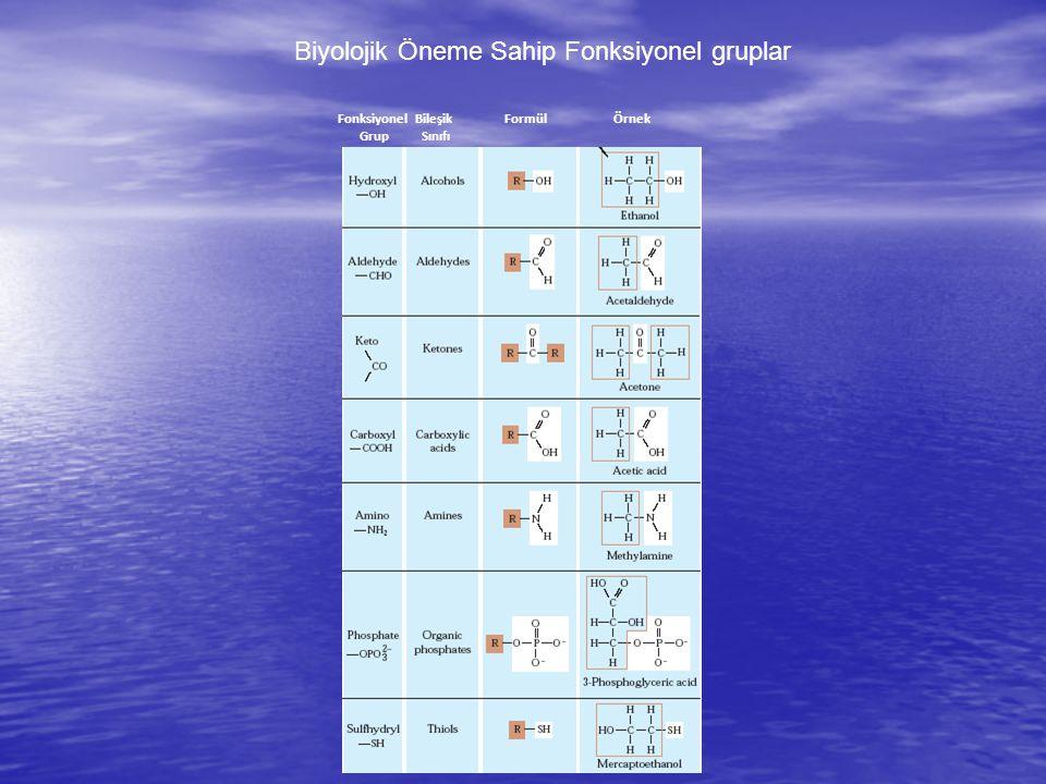 Biyolojik Öneme Sahip Fonksiyonel gruplar Fonksiyonel Grup Bileşik Sınıfı FormülÖrnek