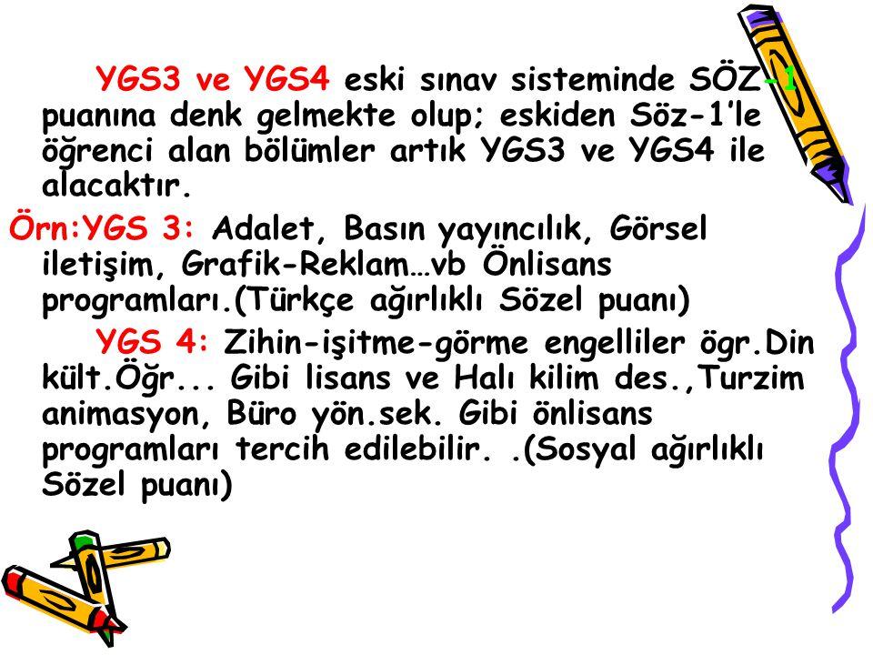 YGS1 ve YGS2 eski sınav sisteminde Say-1 puanına denk gelmekte olup; eskiden say-1'le öğrenci alan bölümler artık YGS1 ve YGS2 ile alacaktır. Örn:YGS