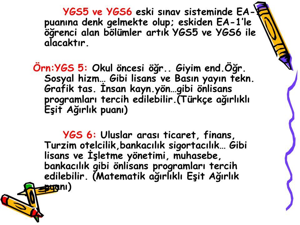 YGS3 ve YGS4 eski sınav sisteminde SÖZ-1 puanına denk gelmekte olup; eskiden Söz-1'le öğrenci alan bölümler artık YGS3 ve YGS4 ile alacaktır. Örn:YGS