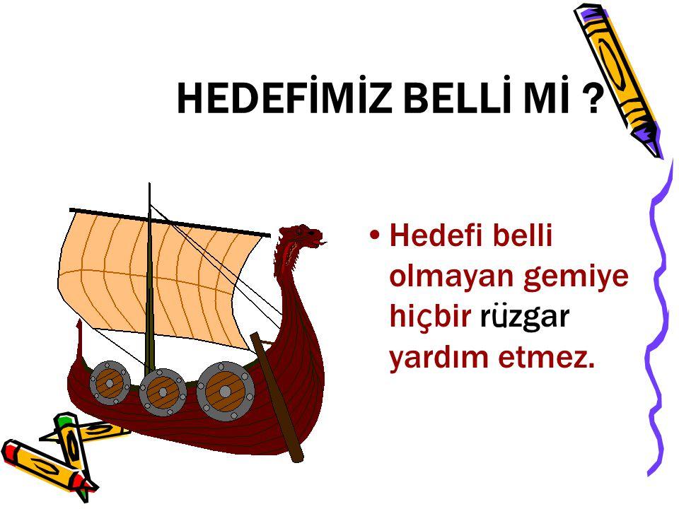 HEDEFİMİZ BELLİ Mİ ? Hedefi belli olmayan gemiye hi ç bir r ü zgar yardım etmez.