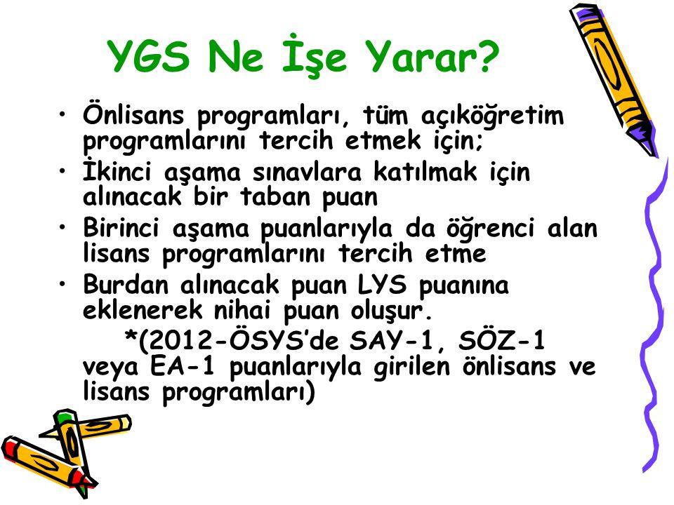 YGS Her puan türünde 100 ile 500 arasında bir puan hasaplancaktır. Önlisans, Açık öğretim veya Lisans programlarına giriş gerekli olacak olan taban pu