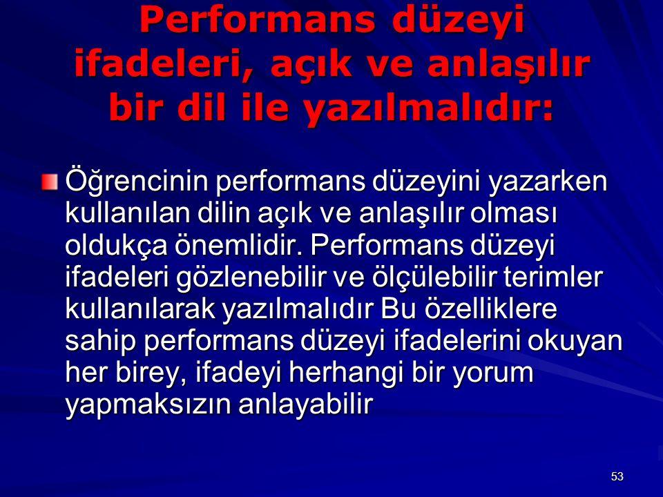53 Performans düzeyi ifadeleri, açık ve anlaşılır bir dil ile yazılmalıdır: Öğrencinin performans düzeyini yazarken kullanılan dilin açık ve anlaşılır olması oldukça önemlidir.