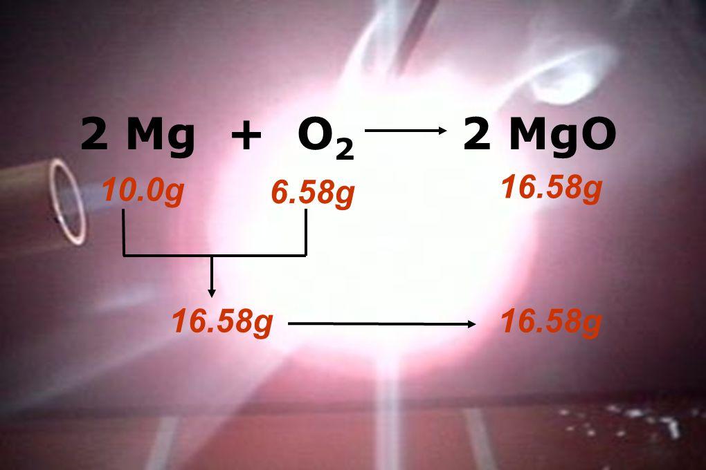 2 Mg + O 2 2 MgO 10.0g 6.58g 16.58g
