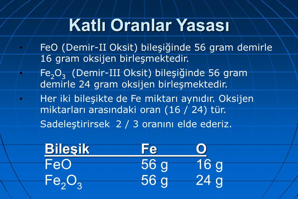 Katlı Oranlar Yasası FeO (Demir-II Oksit) bileşiğinde 56 gram demirle 16 gram oksijen birleşmektedir. Fe 2 O 3 (Demir-III Oksit) bileşiğinde 56 gram d
