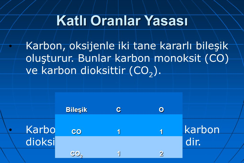 Katlı Oranlar Yasası Karbon, oksijenle iki tane kararlı bileşik oluşturur. Bunlar karbon monoksit (CO) ve karbon dioksittir (CO 2 ). Karbon monoksitte