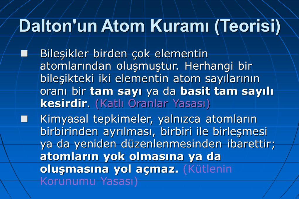 Dalton'un Atom Kuramı (Teorisi) Bileşikler birden çok elementin atomlarından oluşmuştur. Herhangi bir bileşikteki iki elementin atom sayılarının oranı