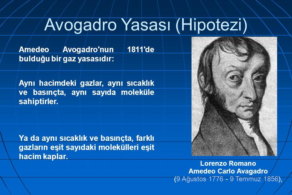 Avogadro Yasası (Hipotezi) Amedeo Avogadro'nun 1811'de bulduğu bir gaz yasasıdır: Aynı hacimdeki gazlar, aynı sıcaklık ve basınçta, aynı sayıda molekü