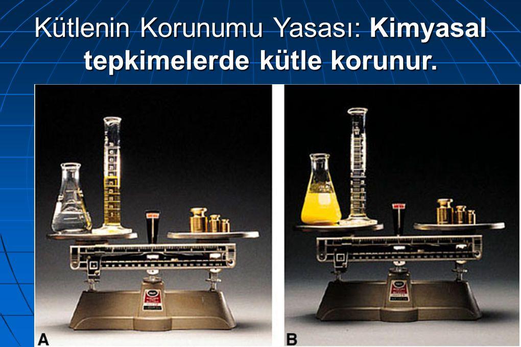 Kütlenin Korunumu Yasası: Kimyasal tepkimelerde kütle korunur.