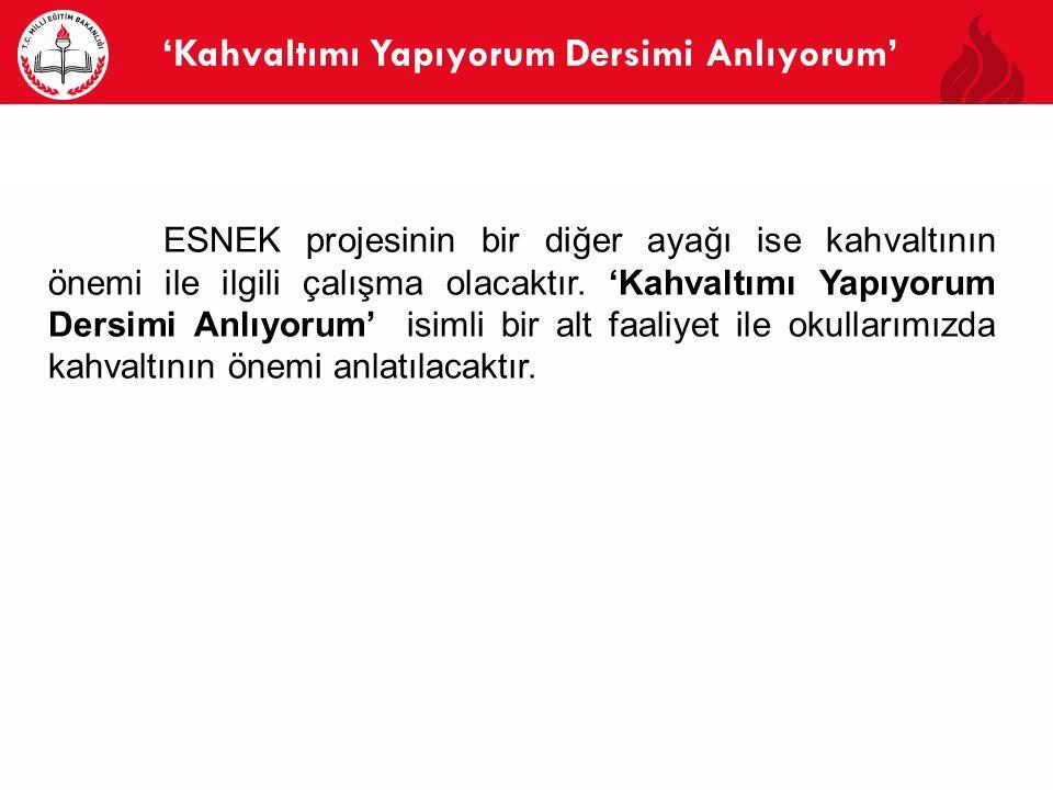 'Kahvaltımı Yapıyorum Dersimi Anlıyorum' 7 ESNEK projesinin bir diğer ayağı ise kahvaltının önemi ile ilgili çalışma olacaktır.