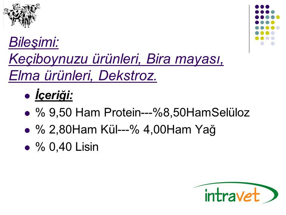 Bileşimi: Keçiboynuzu ürünleri, Bira mayası, Elma ürünleri, Dekstroz. İçeriği: % 9,50 Ham Protein---%8,50HamSelüloz % 2,80Ham Kül---% 4,00Ham Yağ % 0,
